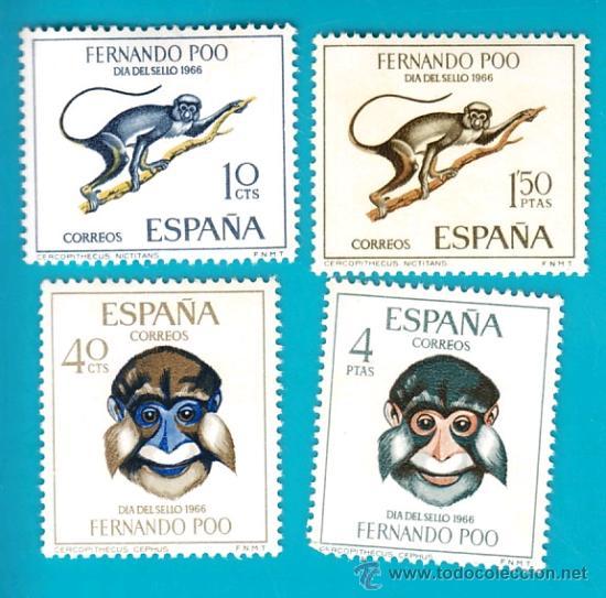 FERNANDO POO 1966, EDIFIL 251 AL 254, DIA DEL SELLO, NUEVO/S (Sellos - España - Colonias Españolas y Dependencias - África - Fernando Poo)