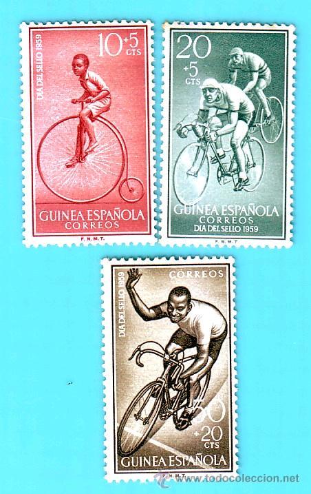 GUINEA 1959, EDIFIL 395 AL 397, DIA DEL SELLO, NUEVO/S CON FIJASELLOS (Sellos - España - Colonias Españolas y Dependencias - África - Guinea)