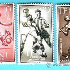 Sellos: IFNI 1958, EDIFIL 156 AL 158, DIA DEL SELLO, NUEVO/S CON FIJASELLOS. Lote 36330567