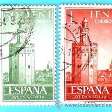 Sellos: IFNI 1963, EDIFIL 193 Y 194, AYUDA A SEVILLA, USADOS. Lote 36340512