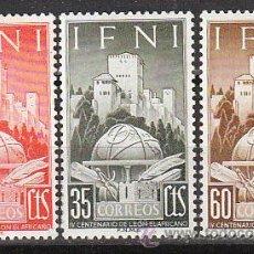 Sellos: IFNI EDIFIL 86/8, 4º CENTENARIO GEOGRAFO HISPANO-ARABE LEÓN EL AFRICANO, NUEVOS CON SEÑAL CHARNELA. Lote 36356784