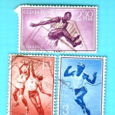 Sellos: GUINEA 1958, EDIFIL 377, 382 Y 383, SERIE BASICA DEPORTES, USADO/S. Lote 36401863