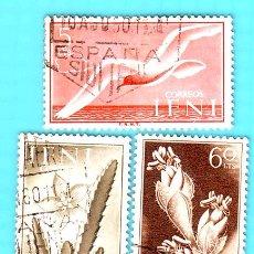 Sellos: IFNI 1954 , EDIFIL 103, 104 Y 108, SERIE BASICA, FLORA Y FAUNA, USADO/S. Lote 36409241