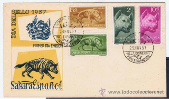 Sellos: sobre primer dia 1957 sahara serie completa - Foto 2 - 38977341