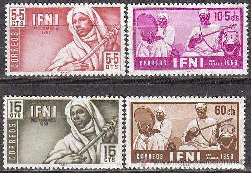 IFNI EDIFIL 95/98, MUSICOS INIGENES, PRO INFANCIA 1953, NUEVOS CON GOMA ORIGINAL INTACTA (Sellos - España - Colonias Españolas y Dependencias - África - Ifni)