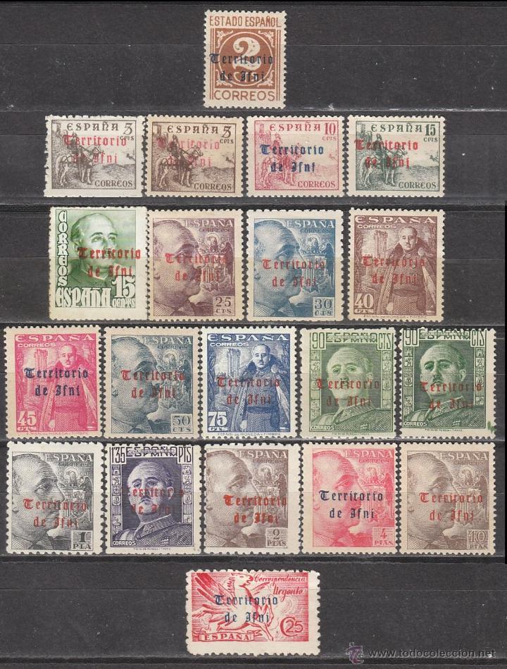 IFNI EDIFIL 37/56, SELLOS DE ESPAÑA HABILITADOS, 1948, NUEVOS CON SEÑAL DE FIJASELLO (Sellos - España - Colonias Españolas y Dependencias - África - Ifni)