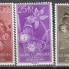 Sellos: GUINEA ESPAÑOLA EDIFIL 388/90, DIA DEL SELLO 1958, MARIPOSAS, NUEVO CON GOMA ORIIGINAL. Lote 59750460