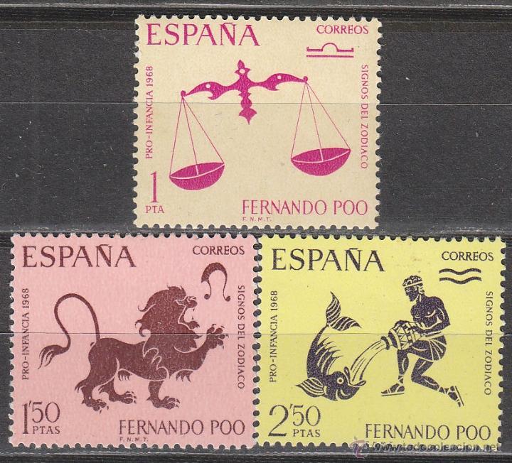 FERNANDO POO 265/7, SIGNOS DEL ZODIACO, NUEVOS CON SEÑAL DE CHARNELA (Sellos - España - Colonias Españolas y Dependencias - África - Fernando Poo)