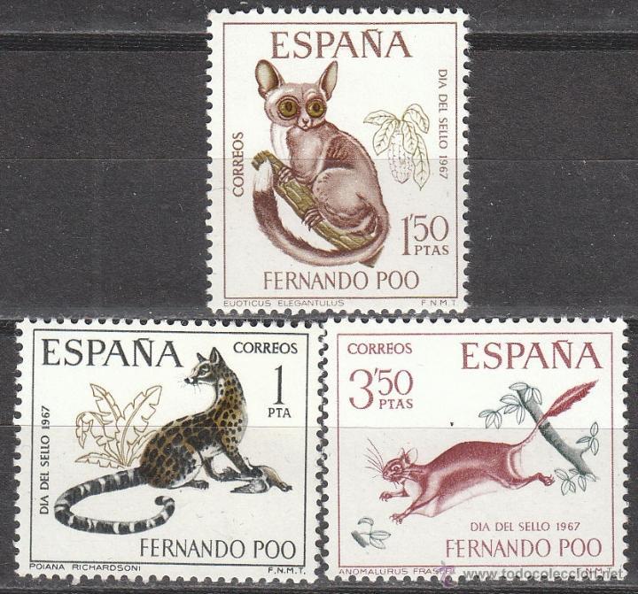 FERNANDO POO EDIFIL Nº 259/61, DIA DEL SELLO 1967, NUEVOS CON SEÑAL DE CHARNELA (Sellos - España - Colonias Españolas y Dependencias - África - Fernando Poo)