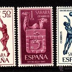 Sellos: SAHARA 246/48** - AÑO 1965 - DÍA DEL SELLO - DEPORTES - BALONCESTO. Lote 39996904