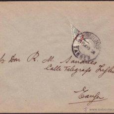 Sellos: TÁNGER (MARRUECOS ESPAÑOL). (CAT. 5). 1919. SOBRE DE CORREO INTERIOR DE TÁNGER. 20 CTS. BISECTADO.. Lote 37979449