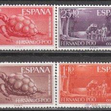 Sellos: FERNANDO POO EDIFIL Nº 203/6, TORTUGA (TESRUDO GIGANTEA) Y PORTEADORES, NUEVOS ***. Lote 40071975