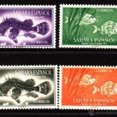 Sellos: SAHARA 108/11** - AÑO 1953 - DÍA DEL SELLO - FAUNA MARINA - PECES. Lote 132153846