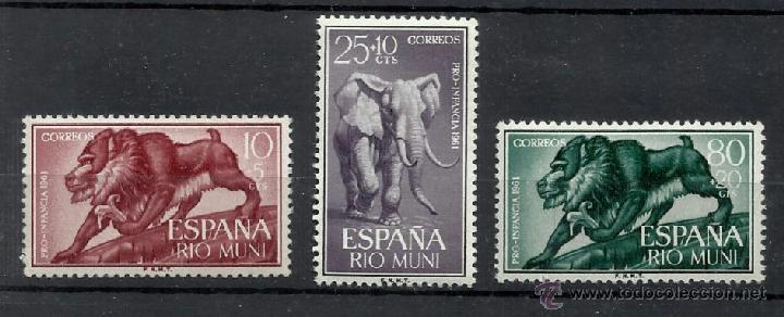 RIO MUNI OCUPACION ESPAÑOLA 1961 FAUNA EDIFIL 18-20 NUEVOS** VALOR 2013 CATALOGO 2.-- EUROS (Sellos - España - Colonias Españolas y Dependencias - África - Río Muni)
