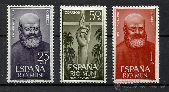 RIO MUNI OCUPACION ESPAÑOLA 1963 PADRE JUANOLA EDIFIL 37-9 NUEVOS** VALOR 2013 CATALOGO 2.-- EURO (Sellos - España - Colonias Españolas y Dependencias - África - Río Muni)