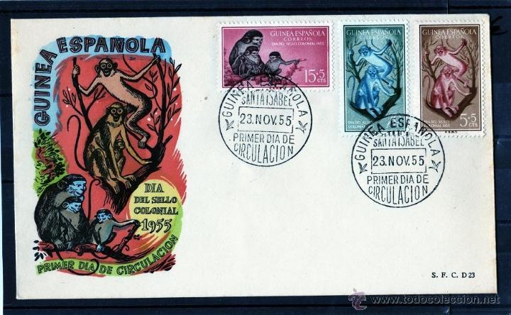 Sellos: GUINEA ESPAÑOLA, DIA DEL SELLO COLONIAL 1955, PRIMER DIA DE CIRCULACION, SANTA ISABEL, EDIFIL 355/57 - Foto 2 - 40837979