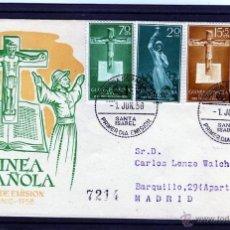 Sellos: GUINEA ESPAÑOLA PRIMER DIA DE EMISION 1958 SANTA ISABEL A MADRID, SELLOS PRO INDIGENAS EDIFIL 384/87. Lote 40838166