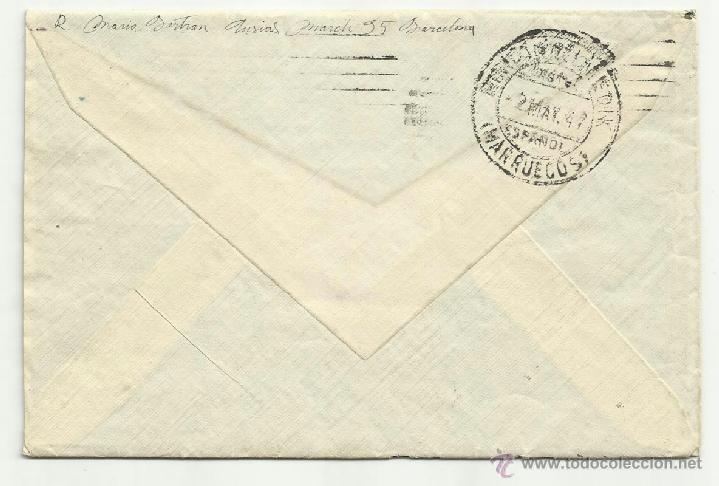 Sellos: circulado 1947 de barcelona a tetuan - Foto 2 - 40858546