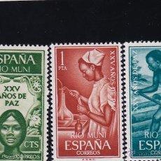 Sellos: RIO MUNI . EDIFIL 60/2 ** AÑO 1965 NUEVOS SIN SEÑAL DE FIJASELLOS . XXV AÑOS DE PAZ . Lote 97350706
