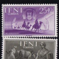 Sellos: IFNI . EDIFIL 122/24 ** AÑO 1955 NUEVOS SIN SEÑAL DE FIJASELLOS . PRO INDÍGENAS. Lote 41966564