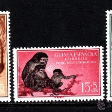 Sellos: GUINEA 355/57** - AÑO 1955 - FAUNA - ANIMALES SALVAJES - MONOS. Lote 42887483