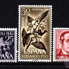Sellos: FERNANDO POO 220/22** - AÑO 1964 - DIA DEL SELLO - FLORA - FLORES - BARCOS - GOBERNADOR CHACO . Lote 155459482