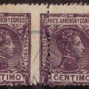 Sellos: ELOBEY, ANNOBÓN Y CORISCO.(CAT.35).1CTO.PAREJA.VARIEDAD DENTADO VERTICAL MUY DESPLAZADO. RR.. Lote 43808577