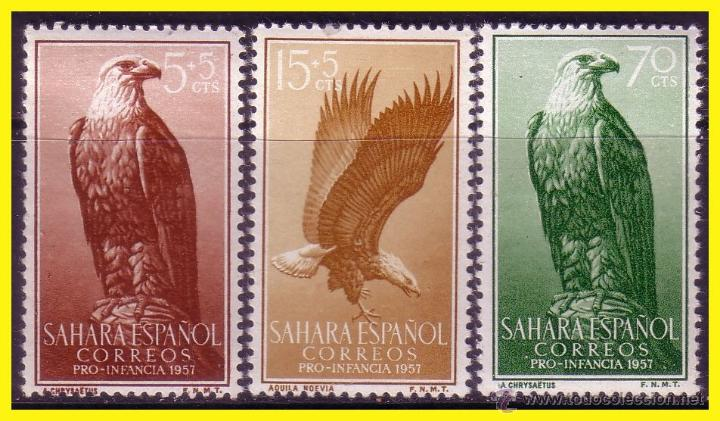 SAHARA 1957 PRO INFANCIA EDIFIL Nº 139 A 141 * * SERIE COMPLETA (Sellos - España - Colonias Españolas y Dependencias - África - Sahara)
