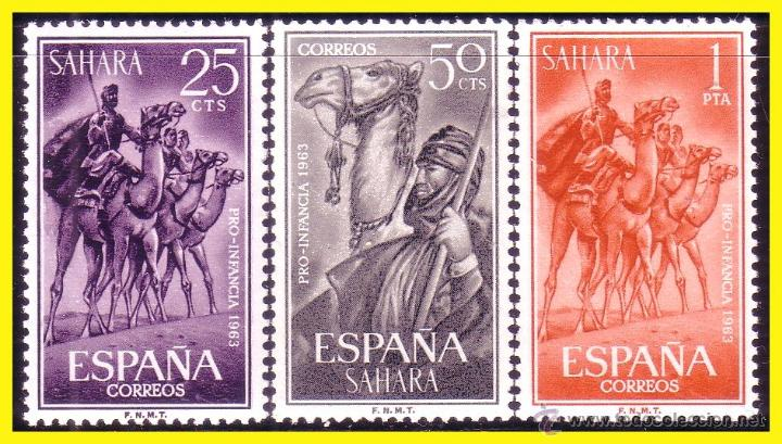 SAHARA 1963 PRO INFANCIA EDIFIL Nº 217 A 219 * * SERIE COMPLETA (Sellos - España - Colonias Españolas y Dependencias - África - Sahara)
