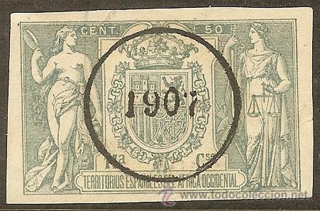FISCALES - PÓLIZA 1905 CON SOBRECARGA 1907 ÁFRICA OCCIDENTAL (Sellos - España - Colonias Españolas y Dependencias - África - África Occidental)