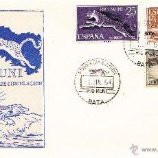Sellos: RIO MUNI, FAUNA ECUATORIAL 1964 (EDIFIL 48/56). SERIE COMPLETA EN TRES SOBRES PRIMER DIA. PERFECTOS. Lote 45736386