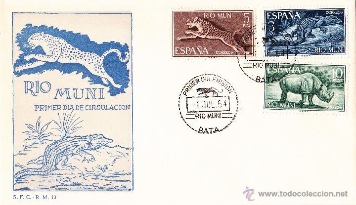 Sellos: RIO MUNI, FAUNA ECUATORIAL 1964 (EDIFIL 48/56). SERIE COMPLETA EN TRES SOBRES PRIMER DIA. PERFECTOS - Foto 2 - 45736386