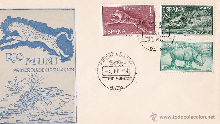 Sellos: RIO MUNI, FAUNA ECUATORIAL 1964 (EDIFIL 48/56). SERIE COMPLETA EN TRES SOBRES PRIMER DIA. PERFECTOS - Foto 3 - 45736386