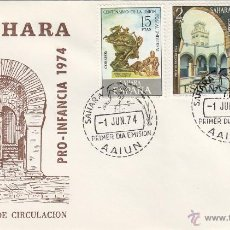 Sellos: SAHARA Nº 314/15 AÑO 1974 PRO INFANCIA MEZQUITA . SOBRE PRIMER DIA SPD / FDC EX COLONIAS .. Lote 103723972