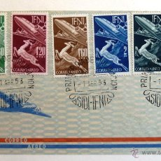 Sellos: IFNI 1953. SOBRE FILATELICO AEREO. GACELA Y AVION. SERIE COMPLETA. SIDI IFNI 1953.. Lote 46452373