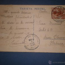 Stamps - TARJETA POSTAL CIRCULADA DESDE TETUAN, MARRUECOS, PROTECTORADO ESPAÑOL A LA HABANA, CUBA, AÑOS 30 - 46872392