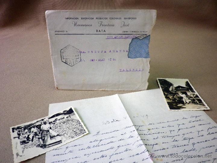 CARTA Y SOBRE CIRCULADO, 1949, CON FOTOGRAFIAS GUINEA ESPAÑOLA, BATA A VALENCIA, CERTIFICADO (Sellos - España - Colonias Españolas y Dependencias - África - Guinea)