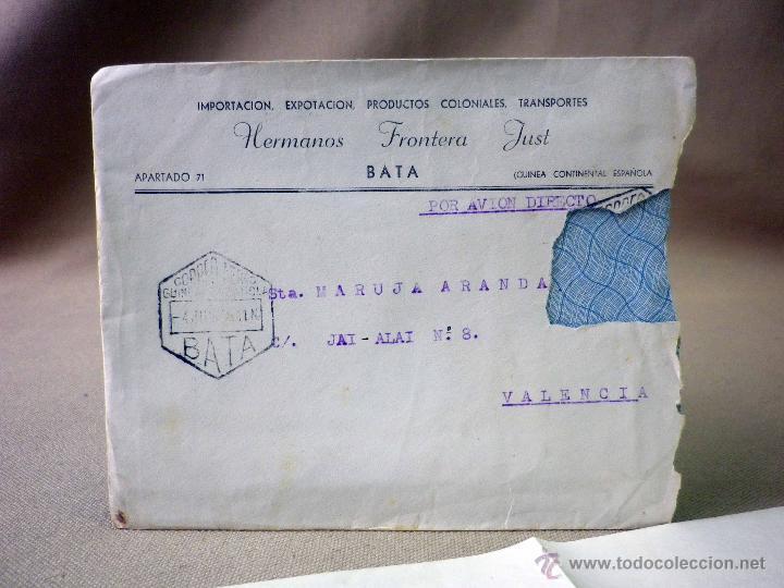 Sellos: CARTA Y SOBRE CIRCULADO, 1949, CON FOTOGRAFIAS GUINEA ESPAÑOLA, BATA A VALENCIA, CERTIFICADO - Foto 3 - 47134841