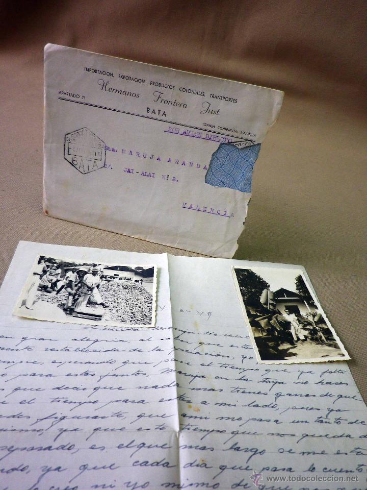 Sellos: CARTA Y SOBRE CIRCULADO, 1949, CON FOTOGRAFIAS GUINEA ESPAÑOLA, BATA A VALENCIA, CERTIFICADO - Foto 4 - 47134841