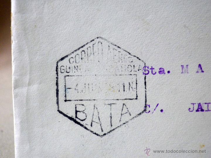 Sellos: CARTA Y SOBRE CIRCULADO, 1949, CON FOTOGRAFIAS GUINEA ESPAÑOLA, BATA A VALENCIA, CERTIFICADO - Foto 5 - 47134841