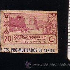 Sellos: MARRUECOS.PROTECTORADO ESPAÑOL.PRO-MUTILADOS DE AFRICA.20 CTS.RECORTE DE ENTERO POSTAL.USADO.. Lote 47970493