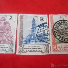 Sellos: SERIE DE 3 SELLOS PRO SEMINARIO DE ZARAGOZA. 1945. SIN DENTAR. Lote 48656657