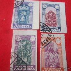 Sellos: SERIE DE 4 SELLOS PRO SEMINARIO DE ZARAGOZA. 1945. SIN DENTAR. Lote 48656757