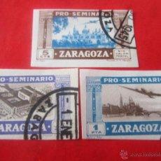 Sellos: SERIE DE 3 SELLOS PRO SEMINARIO DE ZARAGOZA. 1945 SIN DENTAR. Lote 48656966