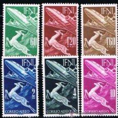 Sellos: IFNI 1953 (89-94) AVION Y GACELA (NUEVO). Lote 48999469