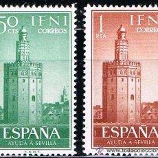 Sellos: IFNI 1963 (193-194) AYUDA A SEVILLA (NUEVO). Lote 49001157