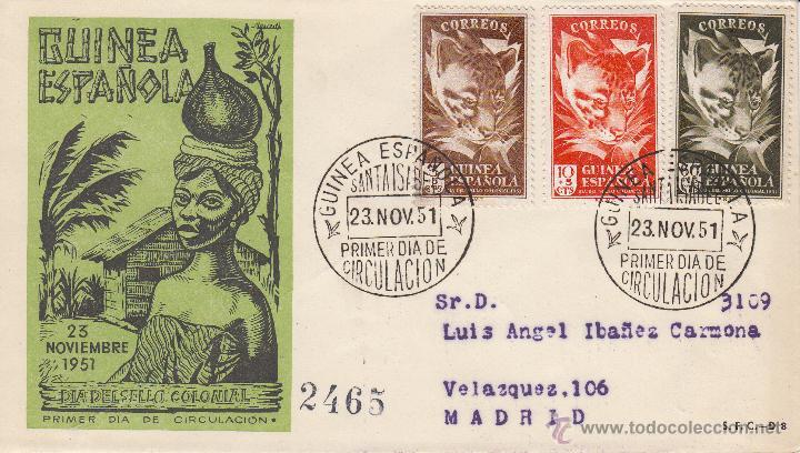 SOBRE: 1951 GUINEA ECUATORIAL. DIA DEL SELLO. PRIMER DIA DE CIRCULACION. MATASELLOS SANTA ISABEL (Sellos - España - Colonias Españolas y Dependencias - África - Guinea)