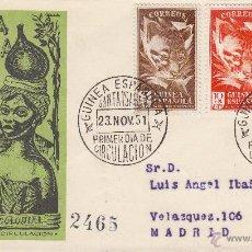 Sellos: SOBRE: 1951 GUINEA ECUATORIAL. DIA DEL SELLO. PRIMER DIA DE CIRCULACION. MATASELLOS SANTA ISABEL. Lote 49194267