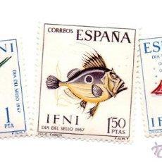 Sellos: IFNI -1967-SERIE 230-232.1-NUEVOS CON SEÑAL DE FIJASELLOS. Lote 49848858
