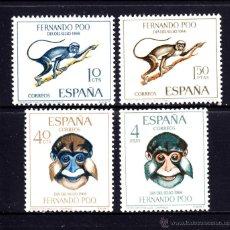 Sellos: FERNANDO POO 251/54** - AÑO 1966 - DIA DEL SELLO - FAUNA - MONOS . Lote 51006563
